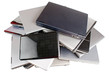 Used laptops, upper view, isoslated on white