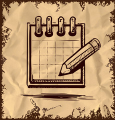 Organizer and pencil on vintage background