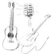 Music icons set with guitars and microphone