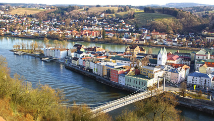Picturesque panorama of Passau. City of Three Rivers. Germany