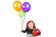 A smiling girl holding a gift and bunch of balloons