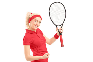 A happy female tennis player