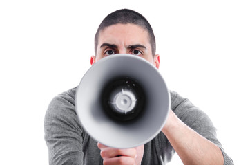 Angry man shouting on a megaphone