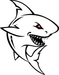angry shark cartoon sketch