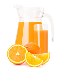 Orange fruit juice in glass jug
