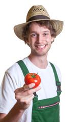 Freundlicher Gärtner zeigt seine Tomate