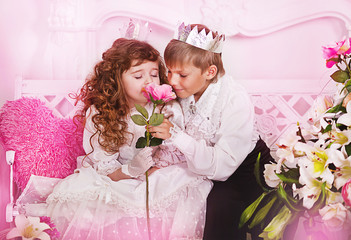 Prince and princess in a fairy-tale palace