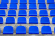 plastic blue seats on football stadium