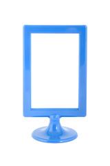 blue plastic photo frame, isolated
