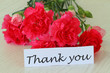 Thank you note with pink carnation flowers