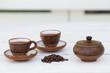 Set de cafe, original, cubano, tetera, tasa, granos y azucarera.