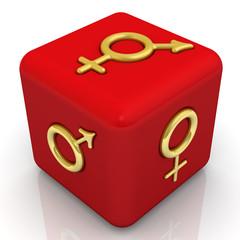 Красный куб с символами биологического пола организмов