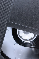 VHS Tape Macro Closeup, detailed black retro videotape cassette