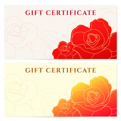 Gift certificate (voucher) template with rose flower