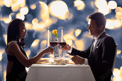Romantic Couple Toasting Red Wine