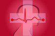 Ekg Hirn Kreuz Hintergrund Medizin Vector rot