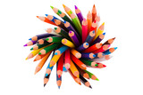 Spiral of color pencils on white background