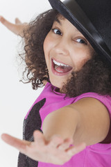 Happy Singing Dancing Mixed Race African American Girl Child