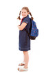 Full body portrait of a school girl with backpack, isolated on w