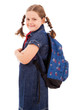 Portrait of a school girl with backpack, isolated on white backg
