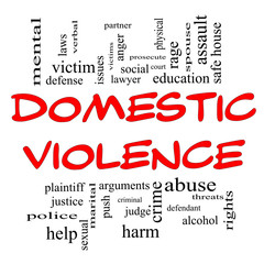Domestic Violence Word Cloud Concept in Red Caps