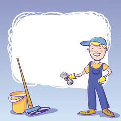 Vector Frame With Janitor, Bucket And Mop.