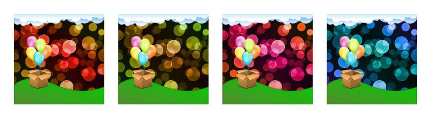 Pacco regalo su sfondo colorato con palloncini