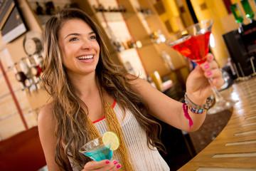 Woman having drinks
