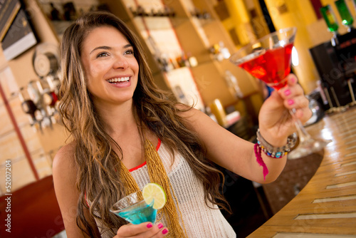 Woman having drinks