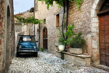 Italian old car, Spello, Italy