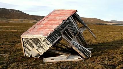 Old damaged hut on falkland islands