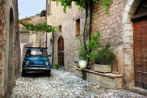 Foto op Canvas Vintage cars Italian old car, Spello, Italy