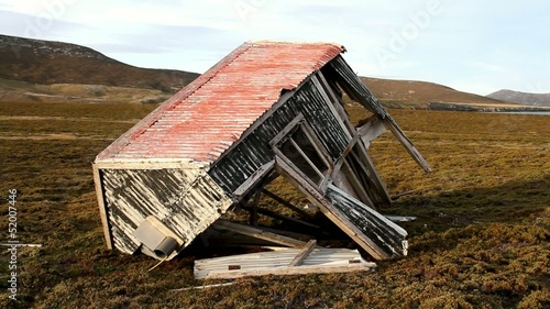 Old damaged hut on falkland islands