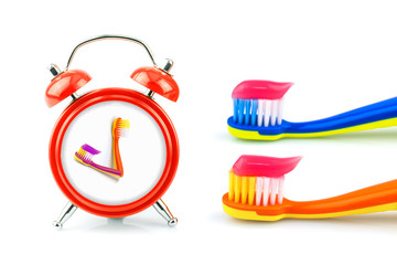 Composition from clock, toothbrushes with toothpaste