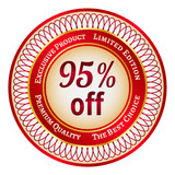 Label on 95 percent discount