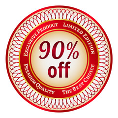 Label on 90 percent discount