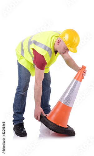 setting out traffic cone