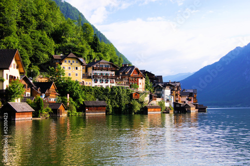 Traditional lakeside houses of the village of Hallstatt, Austria
