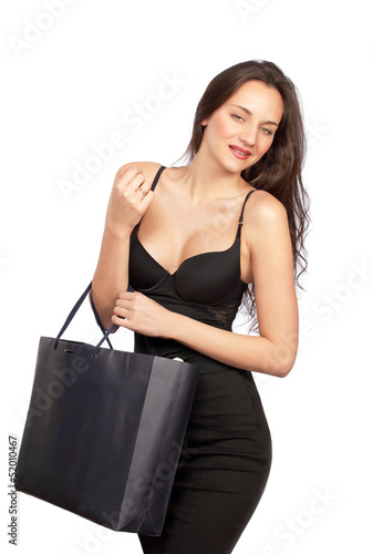 Pretty shopping girl with happy expression
