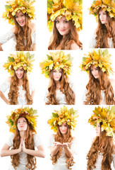 Fall woman.Collage of portrait of girl with autumn wreath