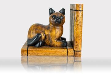 Wood cat carving bookmark