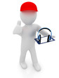 3d white man with thumb up, tablet pc and headphones