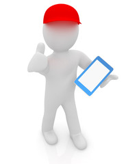3d white man in a red peaked cap with a tablet pc