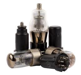 Vacuum electronic radio tubes set isolated on white