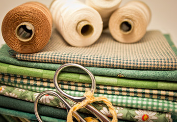 tools for patchwork in green