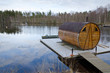 Sauna house on a lake bridge