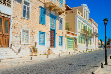Greece Syros island view of main capitol at summer time, Syros i