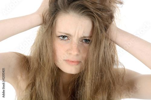 canvas print picture Jugendliche rauft sich die Haare