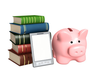 Piggy bank, e-book and books