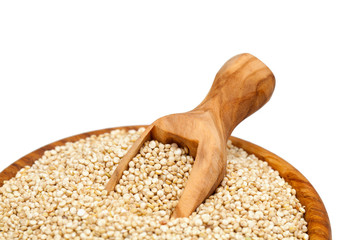 quinoa in a wooden scoop